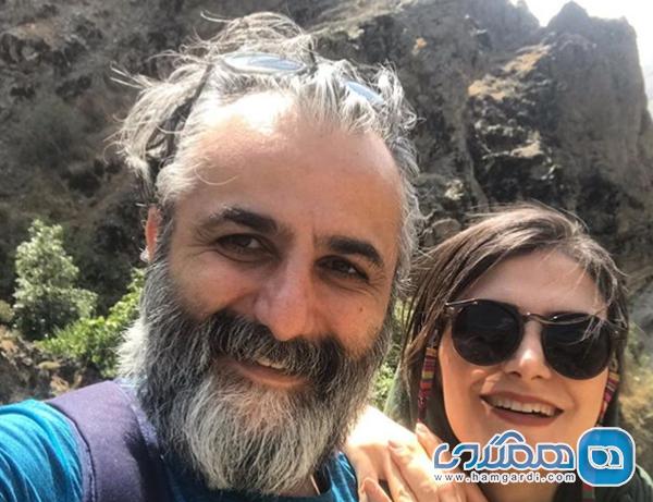 کوهنوردی خانم مجری با همسرش