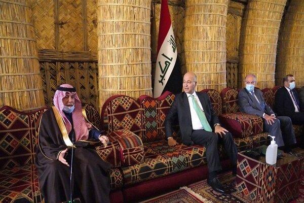 رایزنی برهم صالح و وزیر سعودی، نامه پادشاه عربستان خطاب به عراق