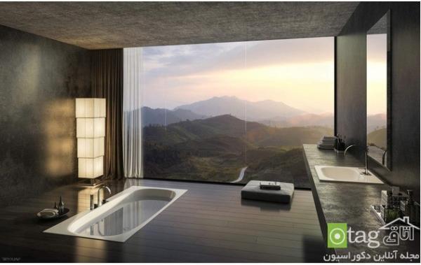 حمام لوکس با ویوی بی نظیر به طبیعت مناسب خانه های ویلایی